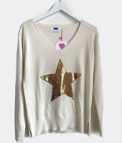 cotton cashmere cream gold star sweater