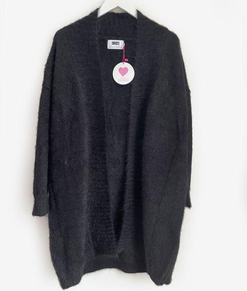 black angora cardigan