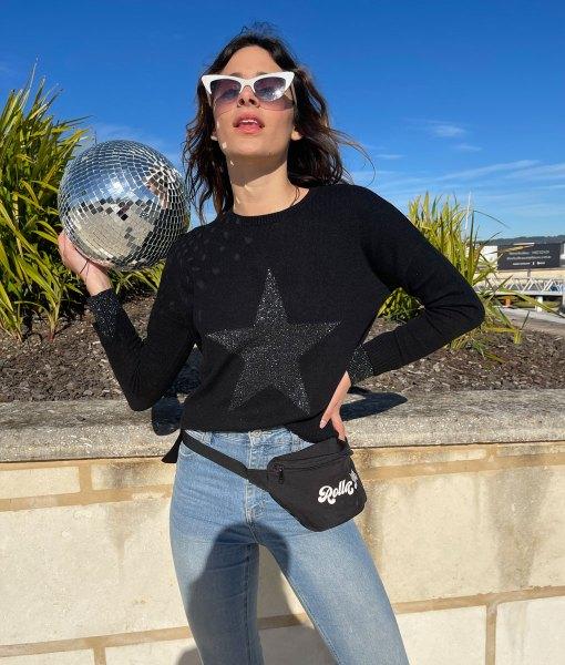 black metallic star sweater