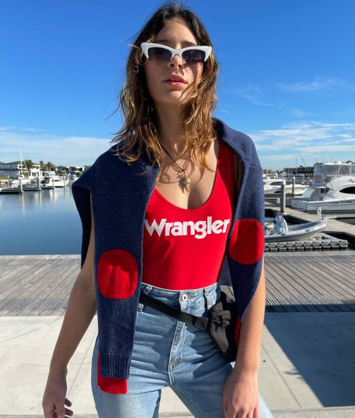 Blue & red arm patch sweater