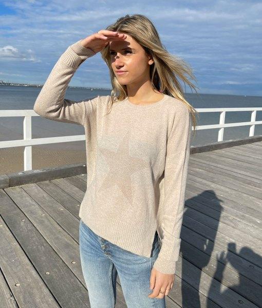 gold metallic star sweater