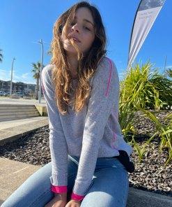 grey & pink contrast stitch sweater