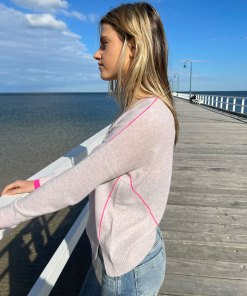 oatmeal & pink contrast stitch sweater