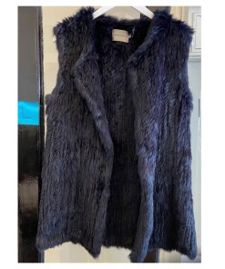 navy fur vest