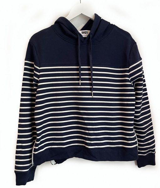 navy white stripe hoodie