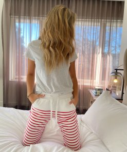 white & red striped trackpants