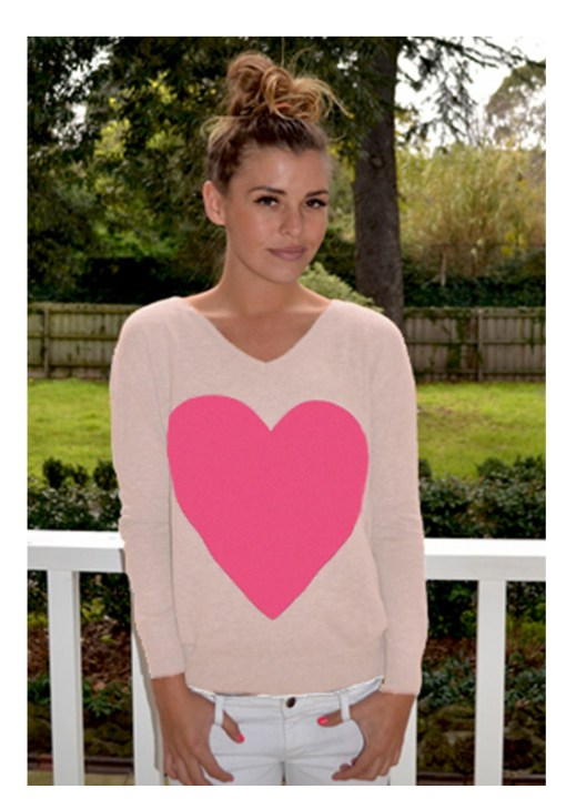 beige with pink heart angora sweater