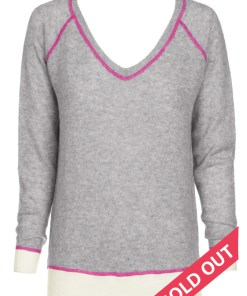 Wool Cashmere V Neck Sweater - Grey with Pink Stitching