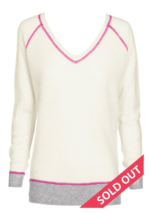 v neck sweater cream with pink stitching