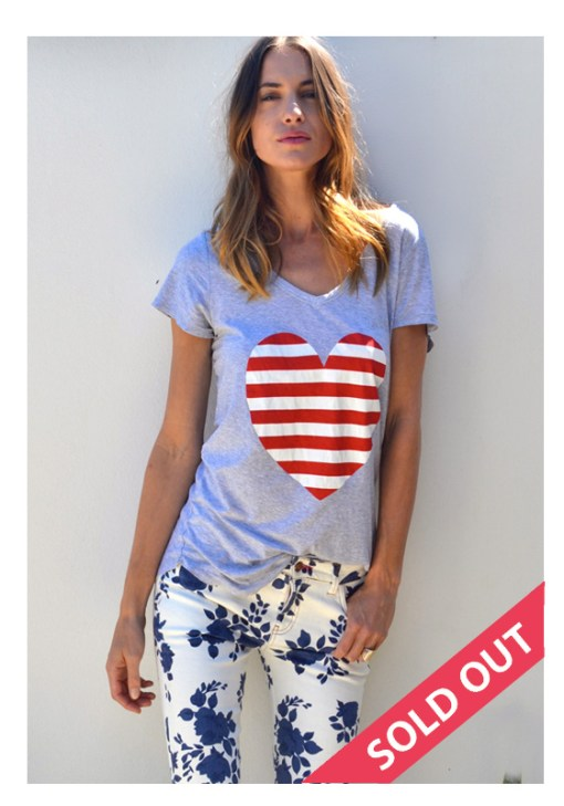 grey with red stripe heart tshirt