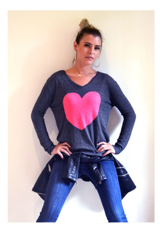 charcoal watermelon heart sweater