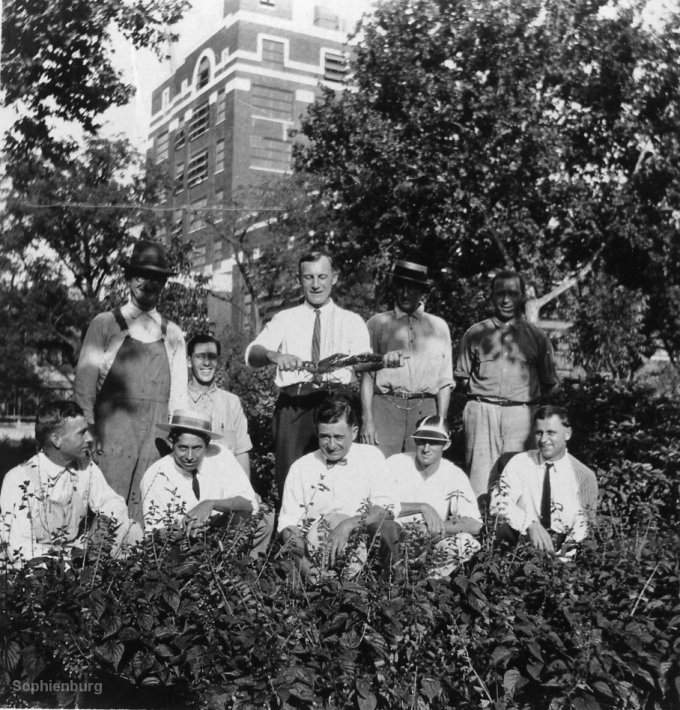 Back, from left: Clem Shaw, Milton Zimmerman, Alfred Selke, Walter Heitkamp, Dick Tausch. Front, from left: (?), Walter Pennington, (?), Paul Muchow, Tex Cooper.