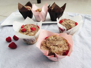Oat and raspberry vegan muffins