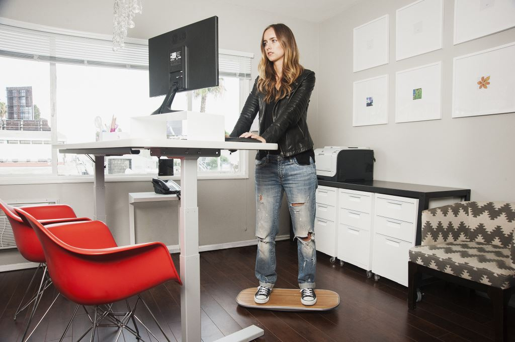 DIY Standing Desk with Balance Board to Ease Neck