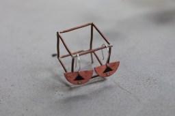 Copper and enamel earrings on silver ear wire