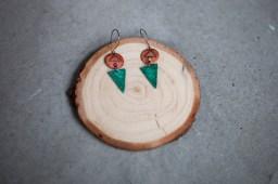 Copper, enamel and copper patina earrings on gunmetal ear wire.