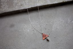 Copper, enamel and pure silver double sided pendant on silver chain
