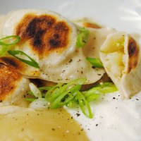 Apple, cabbage and cheddar perogies