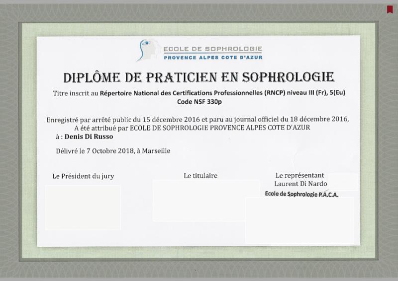 Sophrologue Aix en Provence, Denis Di Russo, Diplôme de Sophrologue certifié RNCP