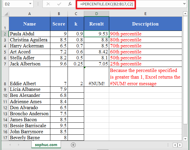 How to use PERCENTILE.EXC Function in Excel