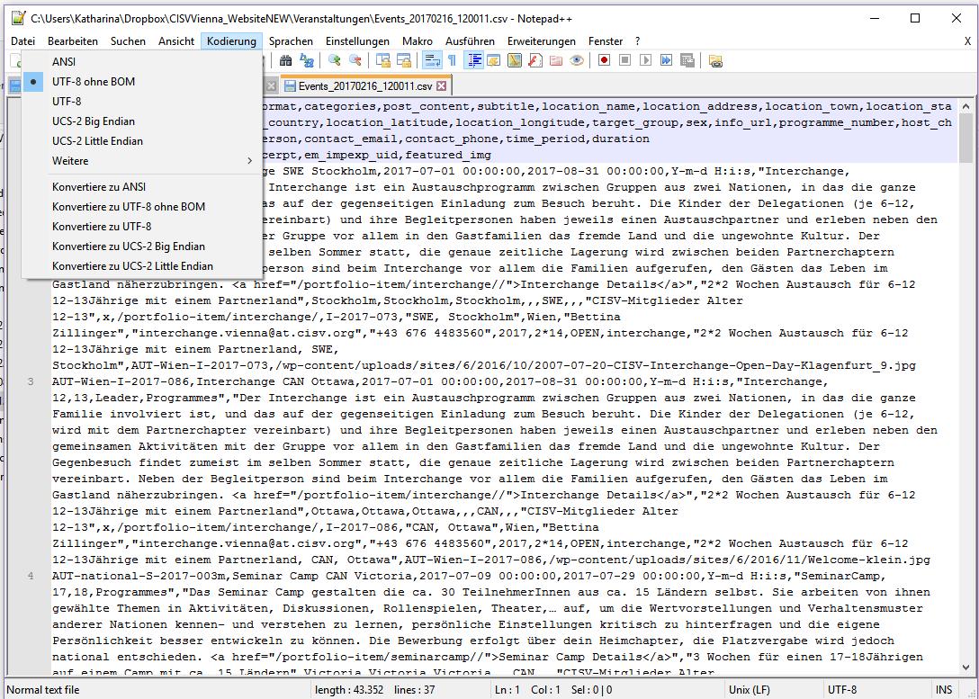 V In Utf 8 Ohne Bom Aus Excel