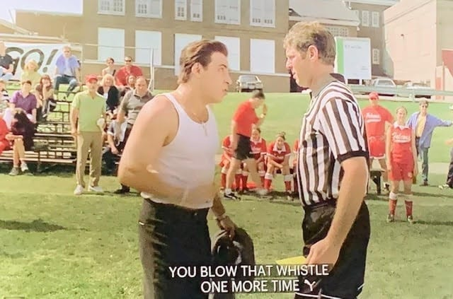Silvio Dante yelling at the soccer referee on the field
