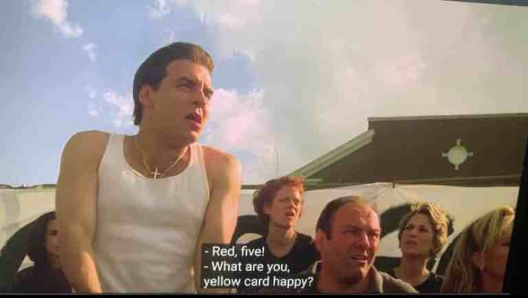 Silvio Dante is yelling at the ref in his daughter's soccer game.