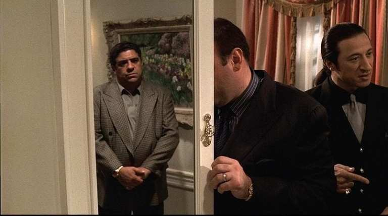 Tony Soprano seeing Pussy's ghost at the funeral home in Proshai, Livushka.