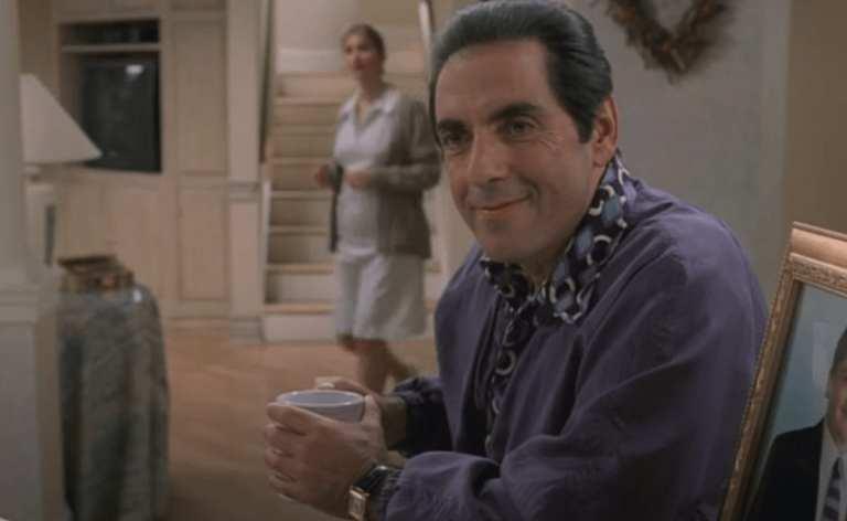 Richie Aprile in the Sopranos kitchen drinking coffee