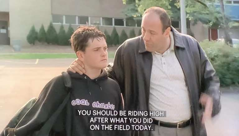 Tony Soprano telling A.J he wants to take him for some hot dogs after his football game