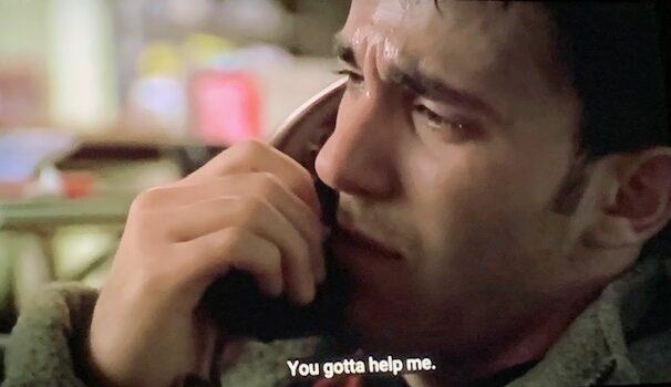 Jackie Junior crying on the phone to Tony Soprano