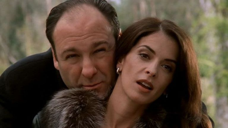 Tony Soprano and Gloria Trillo are hanging out at the zoo watching the gorillas.