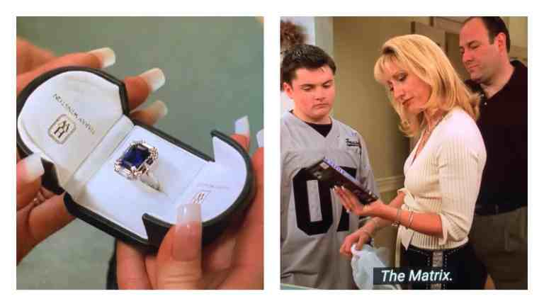 Carmela Soprano is opening her blue sapphire diamond that Tony got her for her birthday, along with the Matrix DVD from A.J.