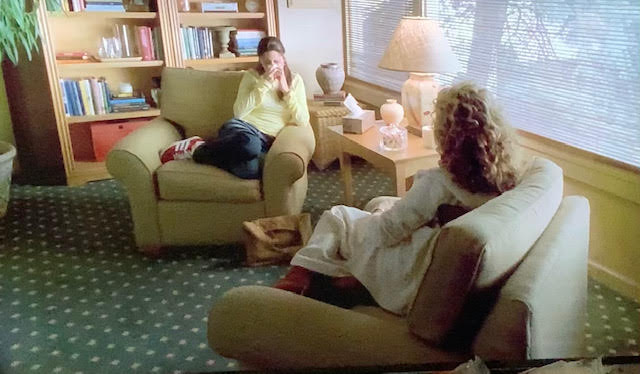 Dr. Wendy Kobler talking to Meadow Soprano at her therapy appointment in Dr. Kobler's office.