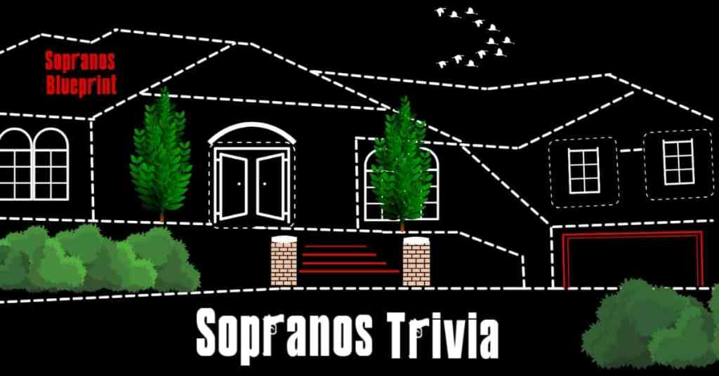 Sopranos Trivia Cover Image with black background and white outline of Soprano house.