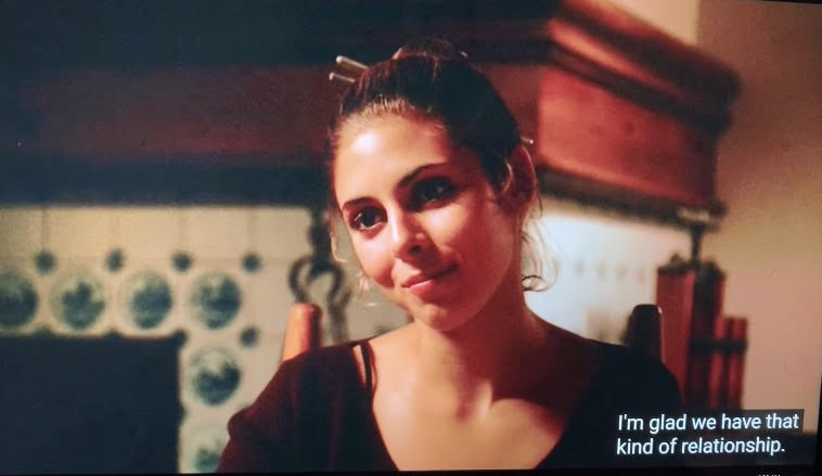 Meadow Soprano is eating dinner with her father, Tony Soprano, at a nice restaurant on their college tour.