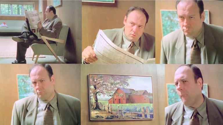 Tony Soprano is reading the newspaper and looking at the painting in Dr. Melfi's waiting room in Denial, Anger, Acceptance.