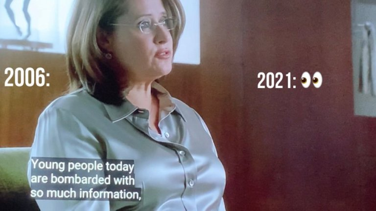 Dr. Melfi is telling Tony that young people today are bombarded with so much information.
