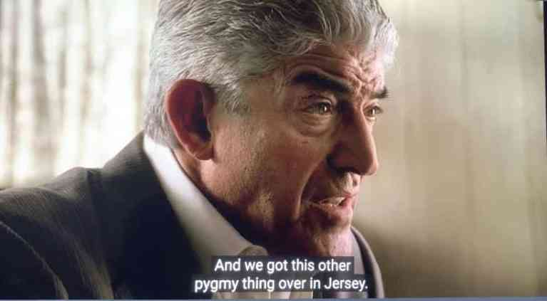 Phil Leotardo is talking to Albie and Butchie about the five families and the pygmy thing in New Jersey.