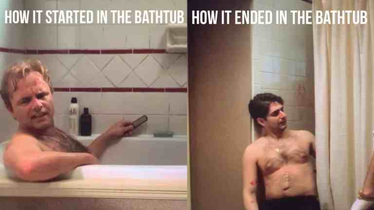 "A meme featuring Ralph Cifaretto in one half and Christopher Moltisanti in the other half with the words ""How it started in the bathtub"" and ""How it ended in the bathtub."""