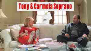 tony and carmela are sitting on the couch at home talking.