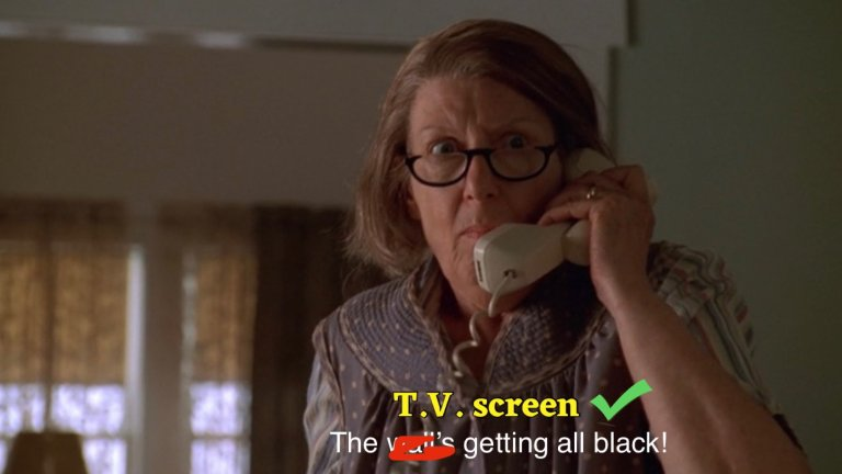 livia soprano is on the phone yelling that her kitchen is on fire and the walls are turning black.