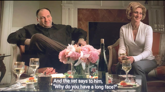 patsy parisi's wife is telling a horse joke to the Sopranos.