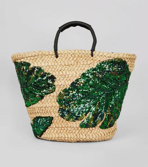 sac-panier-à-feuilles-de-palmier-vertes-en-paillettes