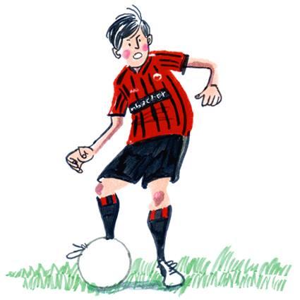 お洒落イラストレーター豊島宙が描いたサッカー扇子のイラスト