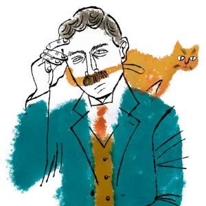 夏目漱石と猫の似顔絵