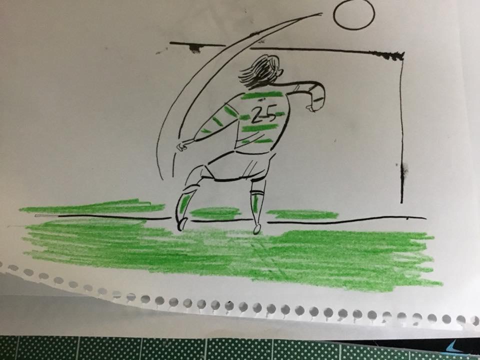 イラストレーターの豊島宙が描いたサッカー選手の中村俊輔のイラスト