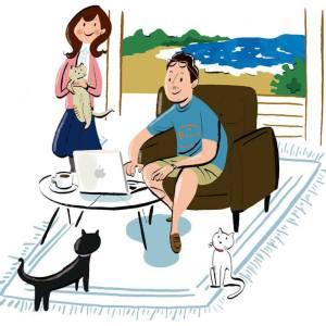 鎌倉の「ペット保険小町」にイラストレーションを描いています。