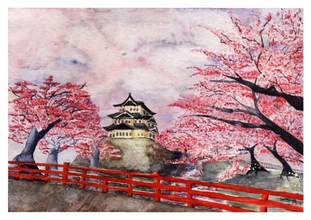 Hirosaki-castle-e-as-sakuras