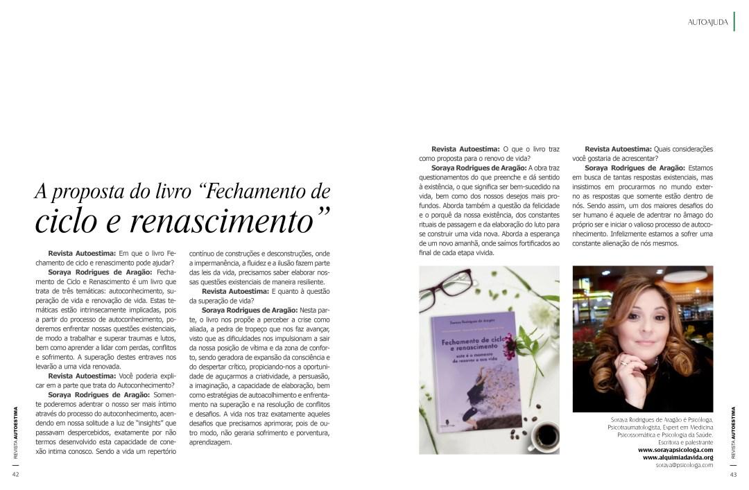 Entrevista do livro Fechamento de ciclo e renascimento para a Revista Autoestima